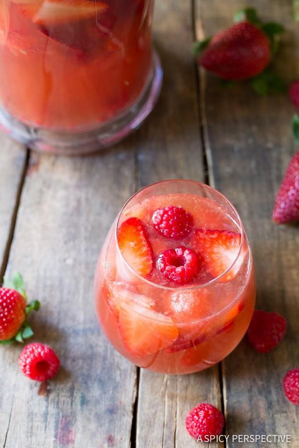 Pink Sangria #ASpicyPerspective #Cocktails #Sangria #SangriaRecipe #RoseSangria #HowtoMakeSangria #Drinks #Beverage