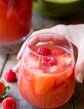 Rose Sangria Recipe on ASpicyPerspective.com #sangria #cocktails #mothersday