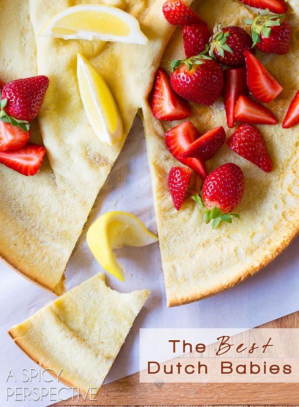 The BEST Dutch Babies Around! (Dutch Baby Recipe) on ASpicyPerspective.com #pancakes