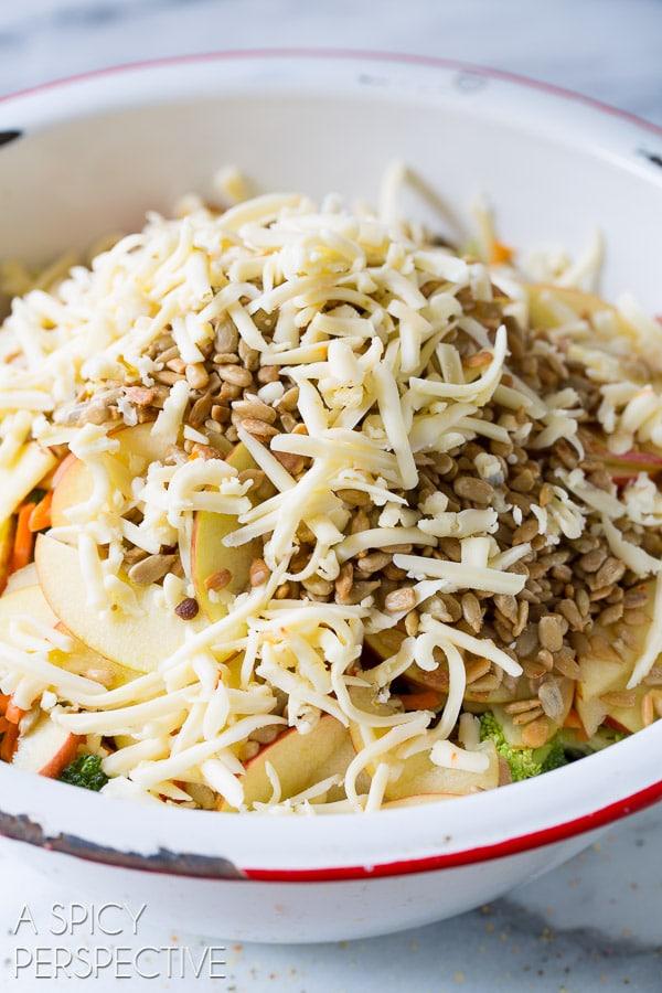 Broccoli Apple Chopped Salad with Herb Vinaigrette on ASpicyPerspective.com #salad #healthy