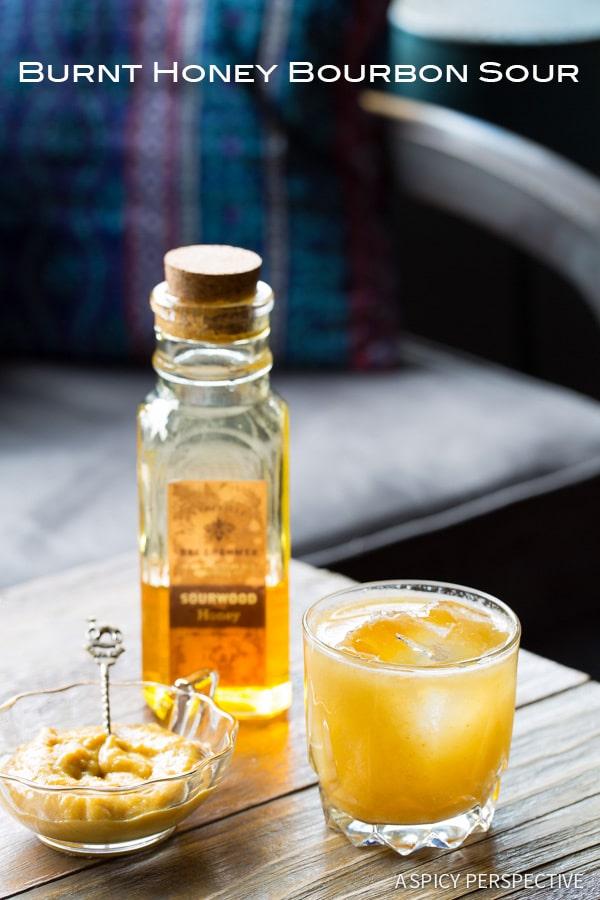 Burnt Honey Bourbon Sour Cocktail