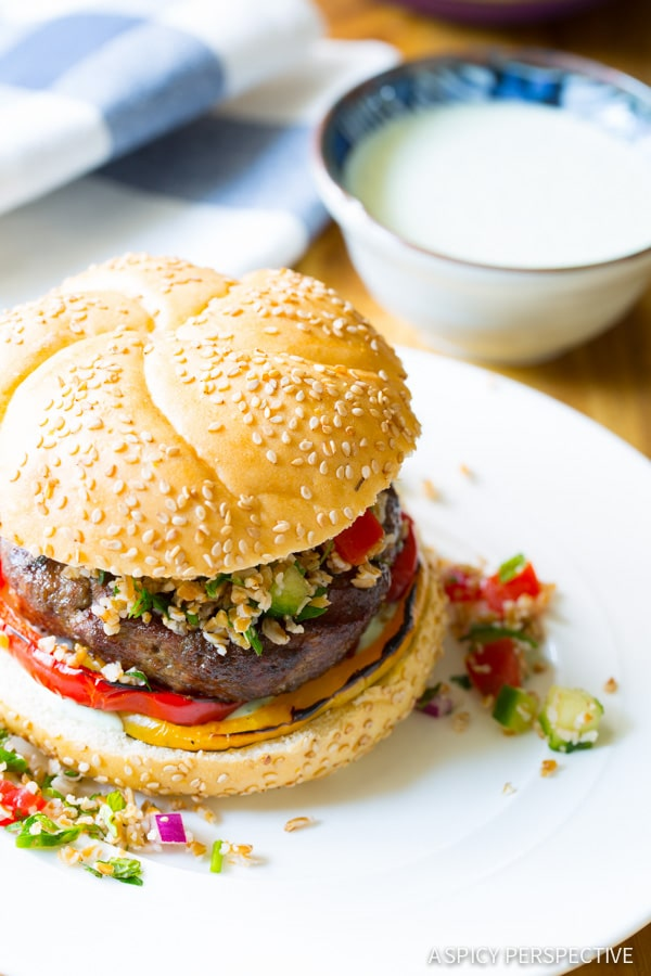 LAMB BURGERS with Tabbouleh and Grilled Peppers on ASpicyPerspective.com #burgers #lamb