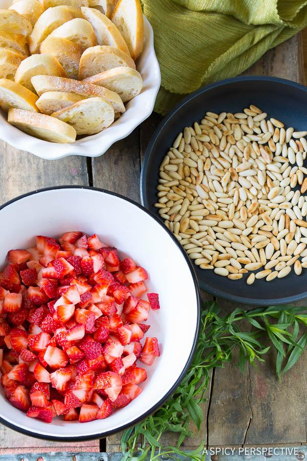 Fresh Strawberry Bruschetta with Feta on ASpicyPerspective.com #summer #party #bruschetta