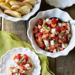 Fresh Strawberry Bruschetta on ASpicyPerspective.com #summer #party #bruschetta