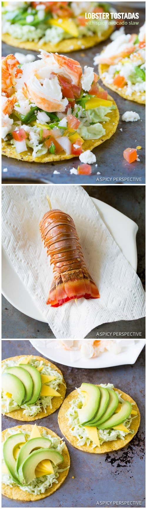 Vibrant Lobster Tostadas Recipe on ASpicyPerspective.com #lobster #mexican