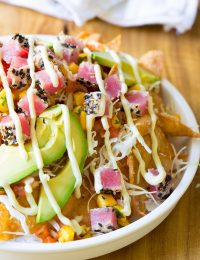 Ahi Wonton Nachos with Wasabi Mayo and Fresh Mango Pico de Gallo on ASpicyPerspective.com #nachos