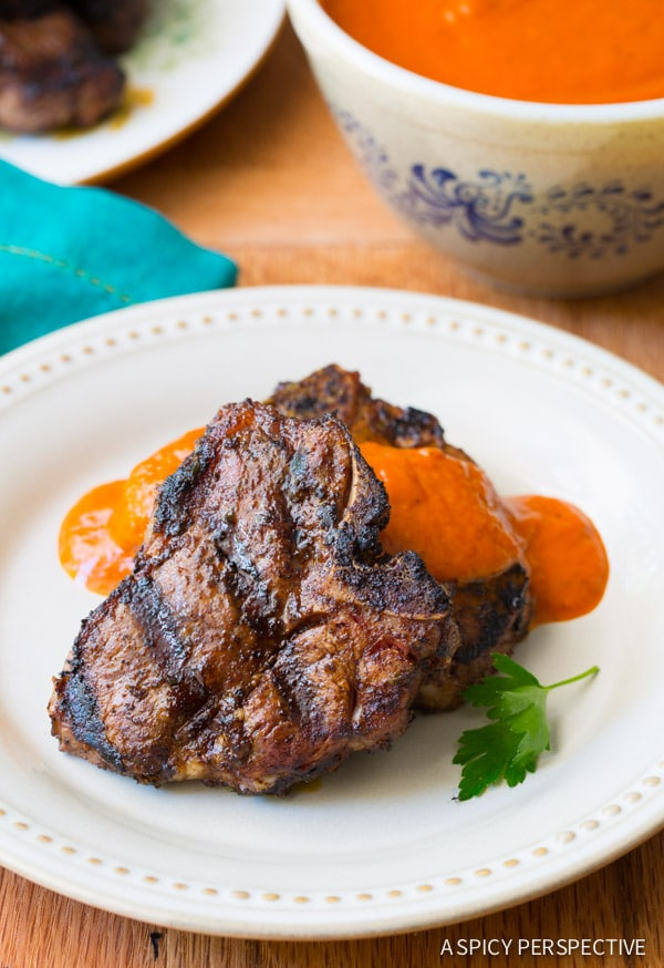Chipotle Lime Grilled Lamb Chops with Ranchero Sauce