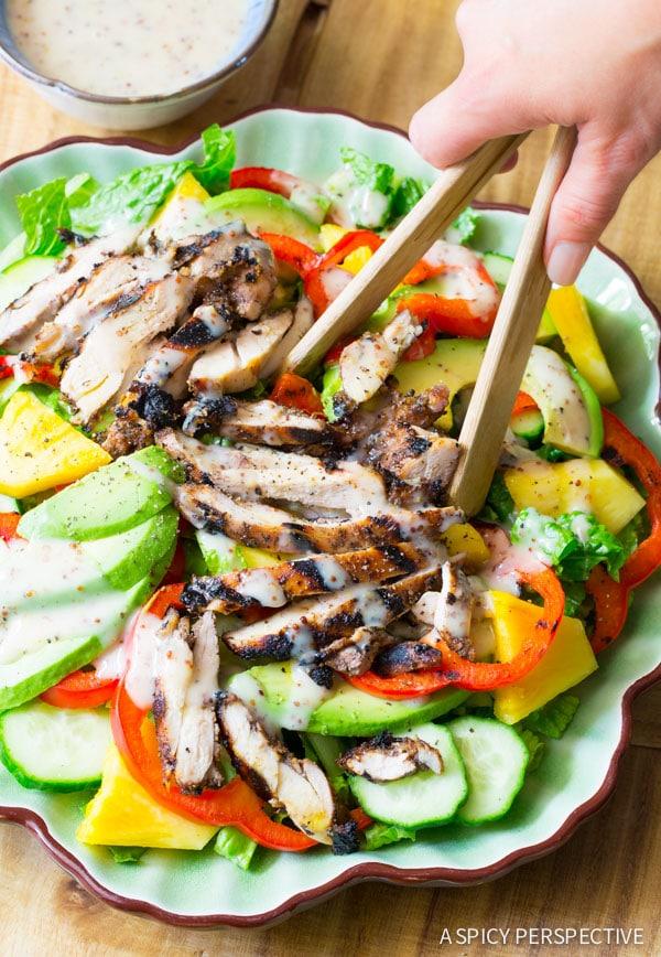 Jamaican Jerk Chicken Salad on ASpicyPerspective.com