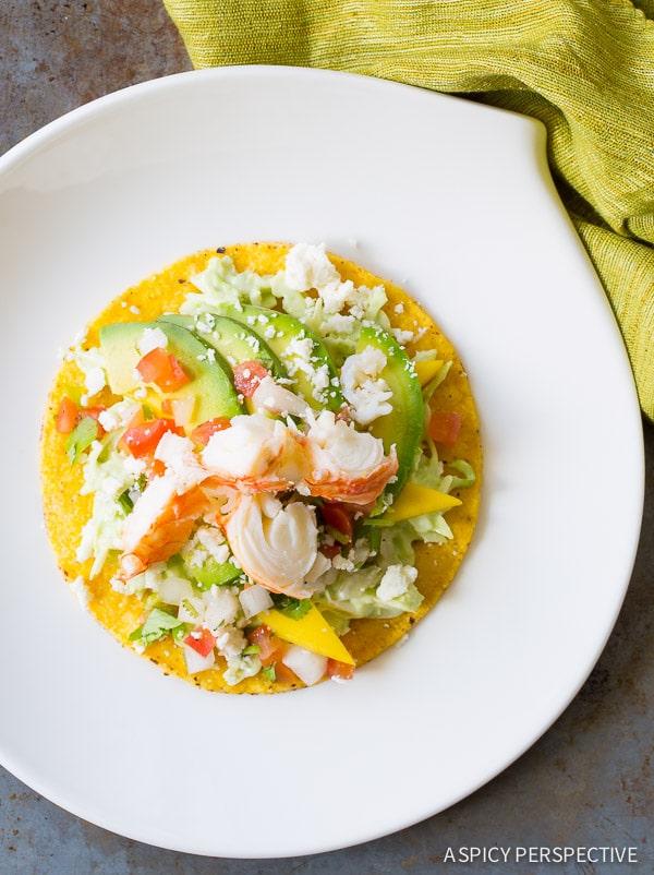 Must-Make Lobster Tostadas Recipe on ASpicyPerspective.com #lobster #mexican