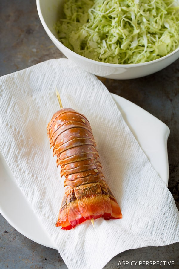 Making Lobster Tostadas Recipe on ASpicyPerspective.com #lobster #mexican