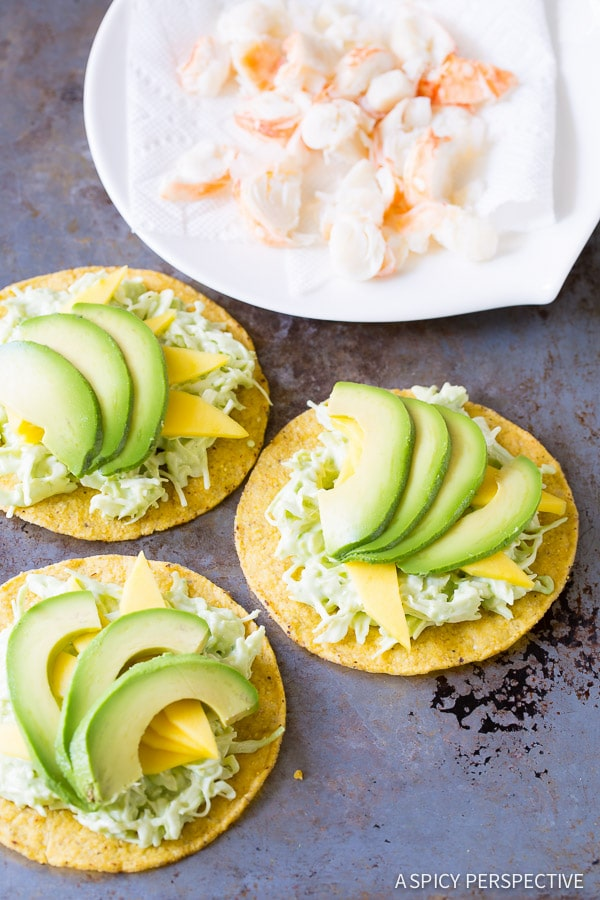 Piling Up Our Lobster Tostadas Recipe on ASpicyPerspective.com #lobster #mexican