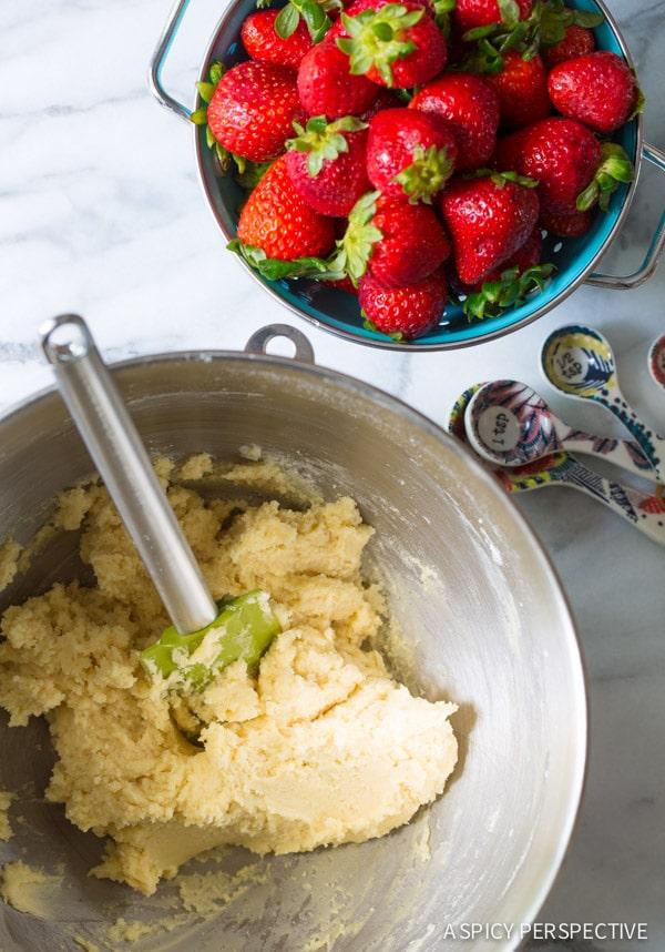 Sugar Cookie Dough #ASpicyPerspective #Strawberry #Fruit #SugarCookie #Pizza #StrawberryPizza #StrawberryPizzaRecipe #GoatCheese #DessertPizza #Summer #Spring #Dessert