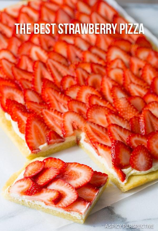 Dessert Pizza #ASpicyPerspective #Strawberry #Fruit #SugarCookie #Pizza #StrawberryPizza #StrawberryPizzaRecipe #GoatCheese #DessertPizza #Summer #Spring #Dessert