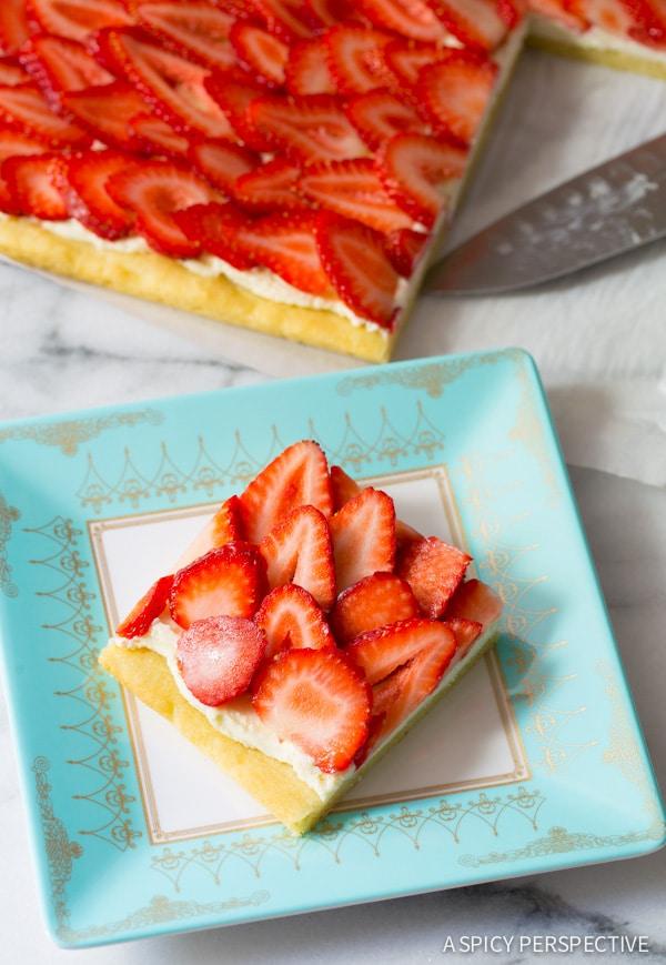 Strawberry Pizza #ASpicyPerspective #Strawberry #Fruit #SugarCookie #Pizza #StrawberryPizza #StrawberryPizzaRecipe #GoatCheese #DessertPizza #Summer #Spring #Dessert