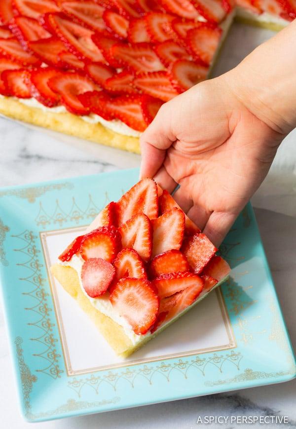 Strawberry Pizza Recipe #ASpicyPerspective #Strawberry #Fruit #SugarCookie #Pizza #StrawberryPizza #StrawberryPizzaRecipe #GoatCheese #DessertPizza #Summer #Spring #Dessert