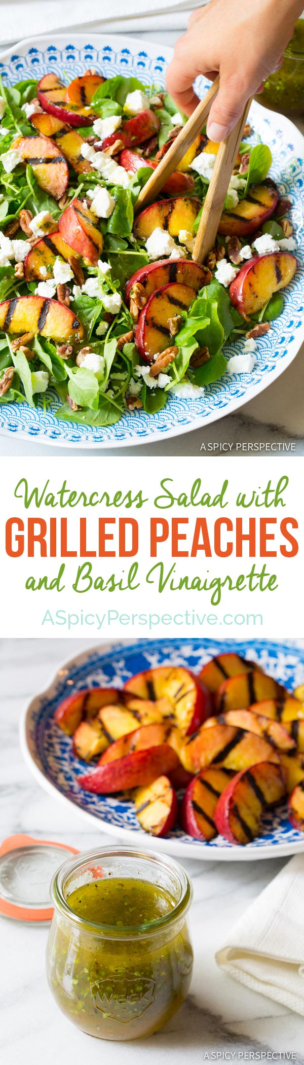 Amazingly Simple Watercress Salad with GRILLED PEACHES and Basil Vinaigrette on ASpicyPerspective.com #salad #peaches