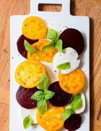 Caprese Salad Recipe with Roasted Beets and Garlic Vinaigrette on ASpicyPerspective.com #salad #caprese