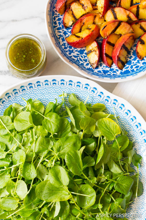 Delicious Grilled Peaches and Watercress Salad with Basil Vinaigrette on ASpicyPerspective.com #salad #peaches