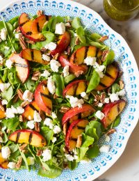 Watercress Salad with GRILLED PEACHES and Basil Vinaigrette on ASpicyPerspective.com #salad #peaches