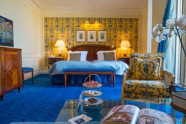 Rooms at Hôtel de Paris in Monte Carlo Monaco on ASpicyPerspective.com #travel #frenchriviera #cotedazur