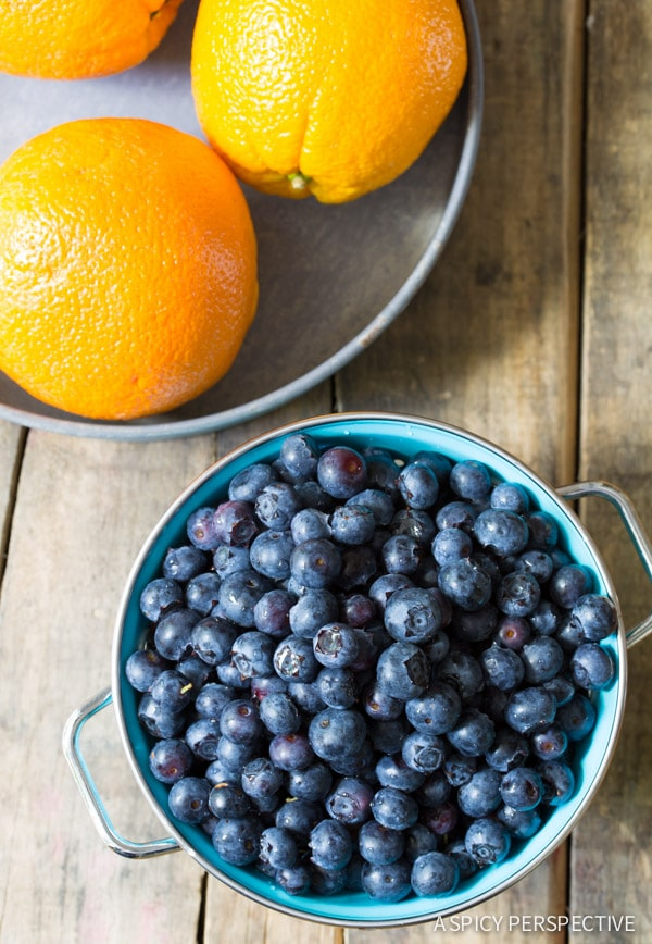 Making Orange Blueberry Upside Down Cake on ASpicyPerspective.com #cake