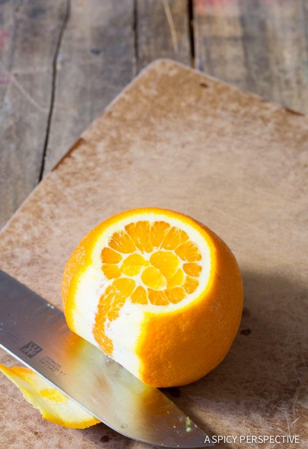 Easy to Make Orange Blueberry Upside Down Cake on ASpicyPerspective.com #cake