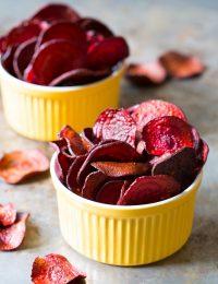 Oven Baked Beet Chips Recipe on ASpicyPerspective.com #glutenfree #vegan #paleo #healthy