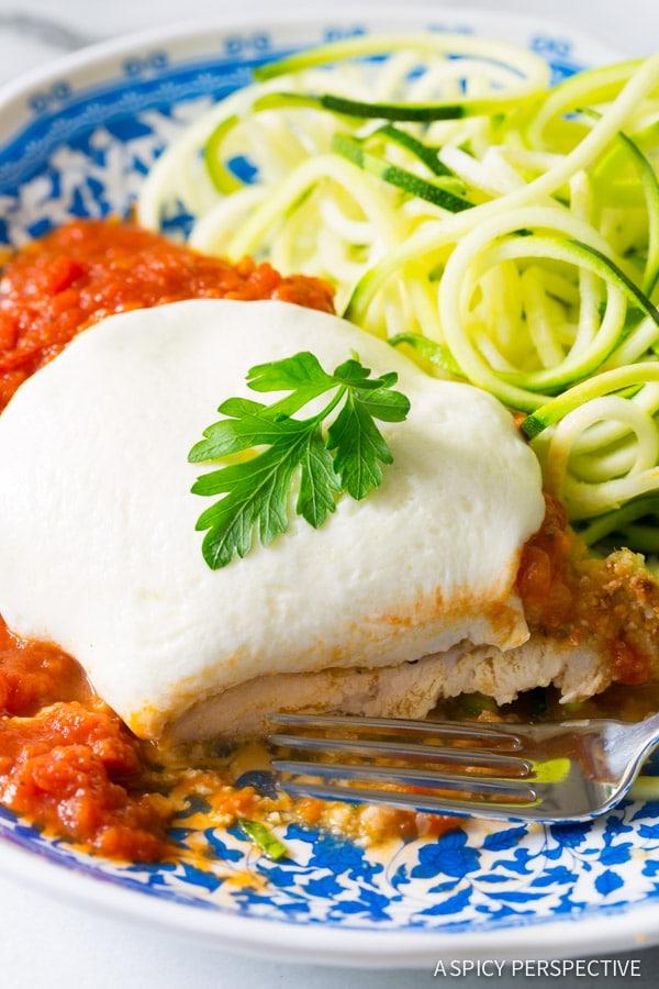 Fabulous Paleo Baked Chicken Parmesan on ASpicyPerspective.com #paleo #primal