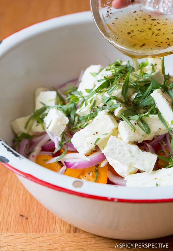 The Best Watermelon Feta Salad with Golden Tomatoes and Tarragon on ASpicyPerspective.com #salad #chopsalad