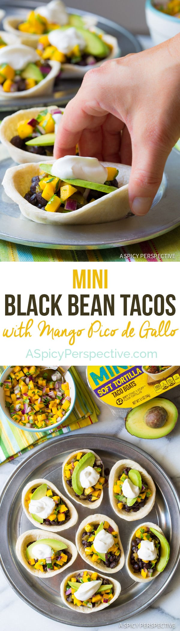 Our new favorite go-to meal - Mini Black Bean Tacos with Mango Pico de Gallo on ASpicyPerspective.com #mexican #vegetarian