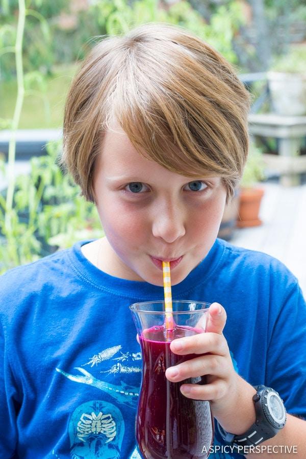 Kid-Friendly 4 Ingredient Basil Beet Juice Recipe (Blender Juice) on ASpicyPerspective.com #juice