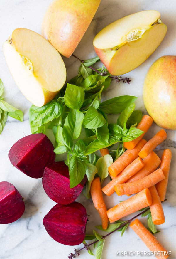 Easy 4 Ingredient Basil Beet Juice Recipe (Blender Juice) on ASpicyPerspective.com #juice