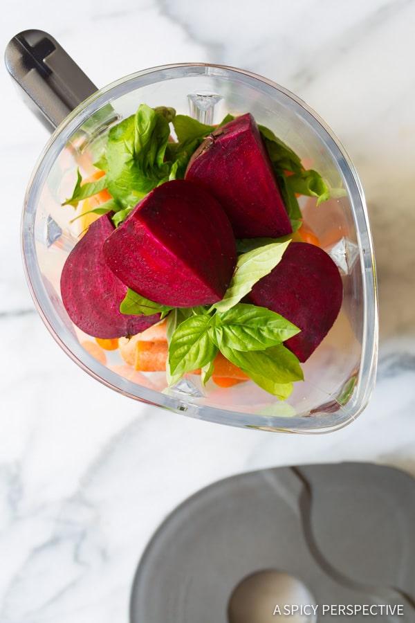 Best 4 Ingredient Basil Beet Juice Recipe (Blender Juice) on ASpicyPerspective.com #juice