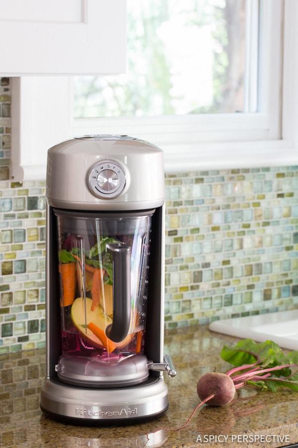 KitchenAid Torrent Blender - 4 Ingredient Basil Beet Juice Recipe (Blender Juice) on ASpicyPerspective.com #juice