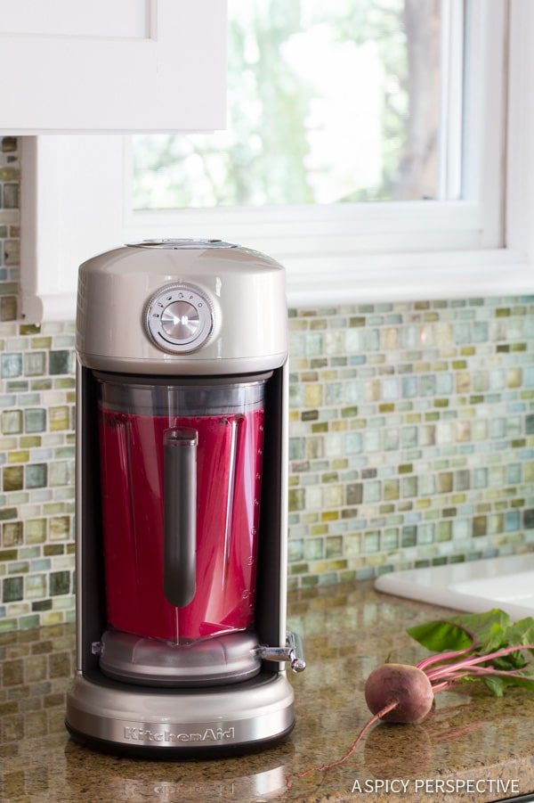 How to Make 4 Ingredient Basil Beet Juice Recipe (Blender Juice) on ASpicyPerspective.com #juice
