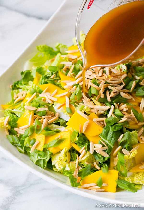 Addictive Napa Cabbage Salad with Mango and Toasted Almonds on ASpicyPerspective.com