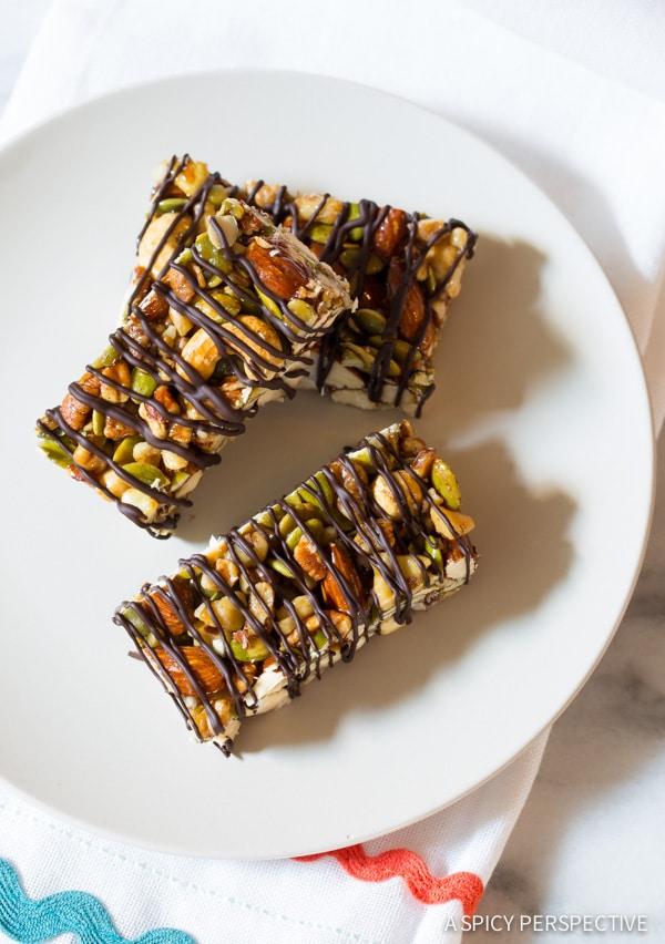 Paleo Bars #ASpicyPerspective #Bars #PaleoBars #NutBar #ChocolateDrizzle #Snack #Paleo #Vegan #GlutenFree