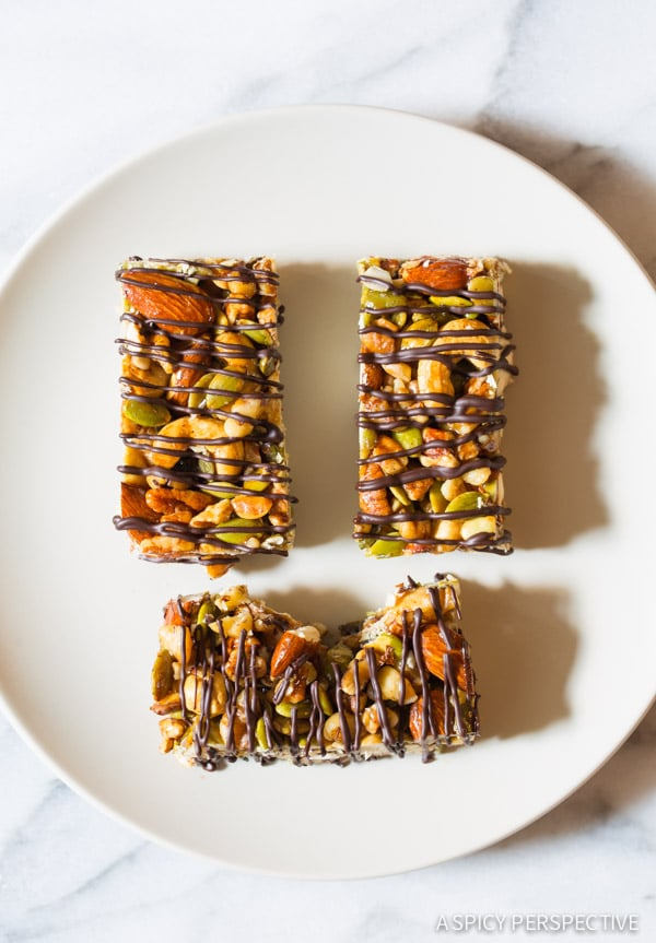 Paleo Bars with Nuts and Chocolate Drizzle