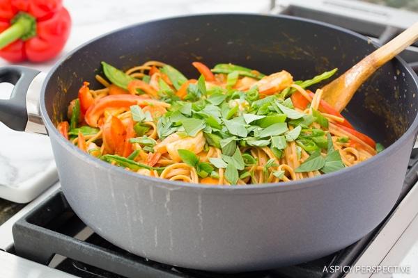 YUM - One Pot Thai Curry Shrimp Pasta on ASpicyPerspective.com #onepotmeal