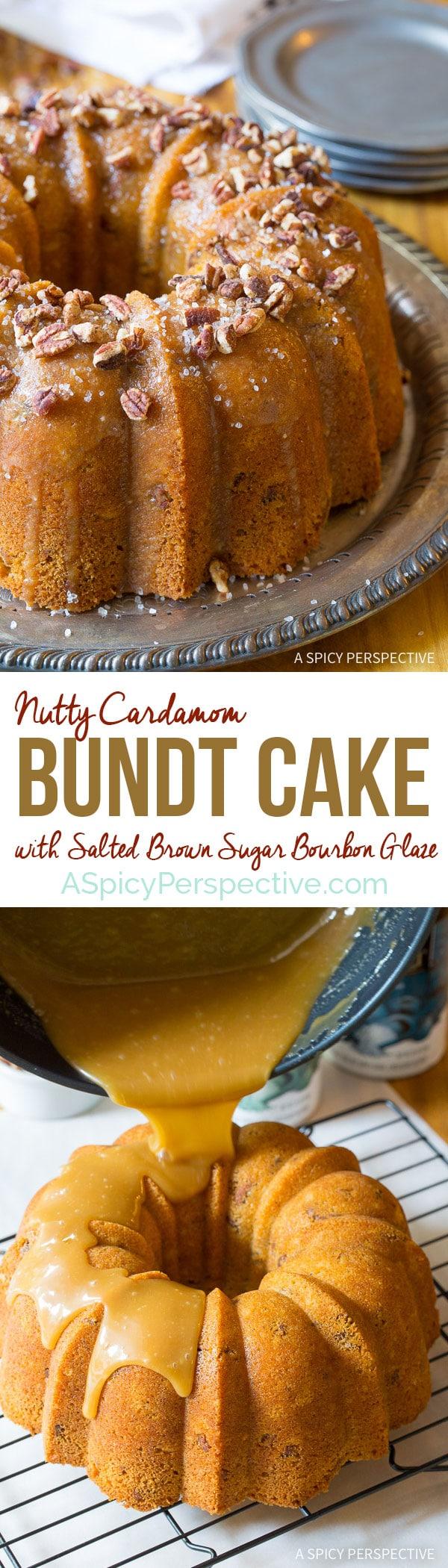 Crazy over this Nutty Cardamom Bundt Cake with Bourbon Glaze on ASpicyPerspective.com