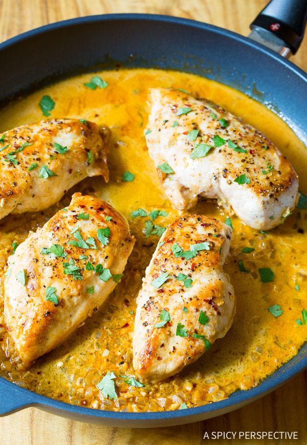 Garlic Lime Skillet Chicken #ASpicyPerspective #Chicken #Dinner #LimeChicken #LimeChickenRecipe #Garlic #Lime #SkilletChicken #GarlicLimeChicken #Skillet