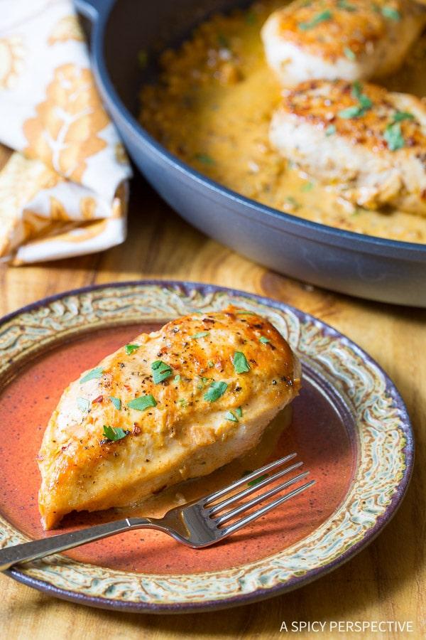 The Best Garlic Lime Skillet Chicken on ASpicyPerspective.com
