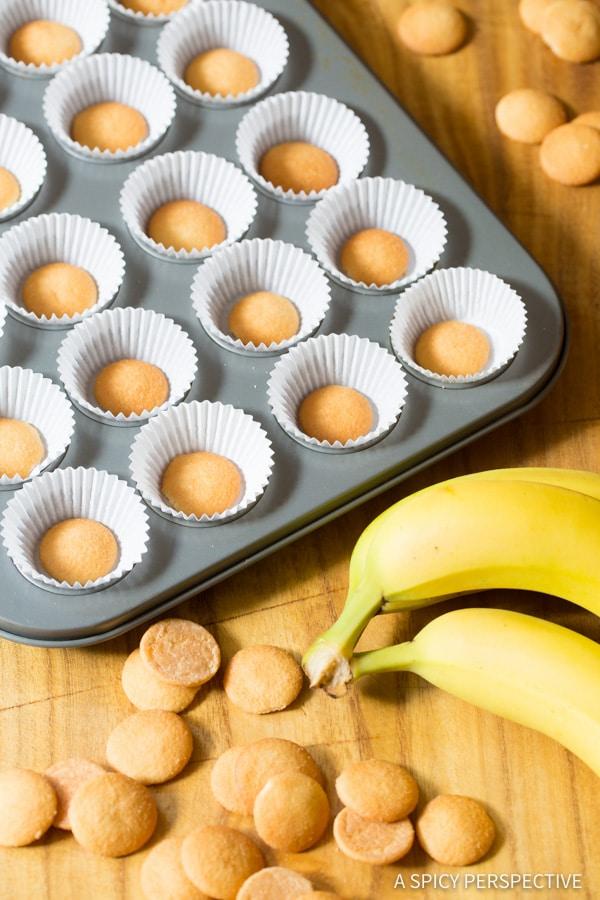 Making Easy Mini Banana Cream Pie Recipe (Banana Pudding Tarts) on ASpicyPerspective.com