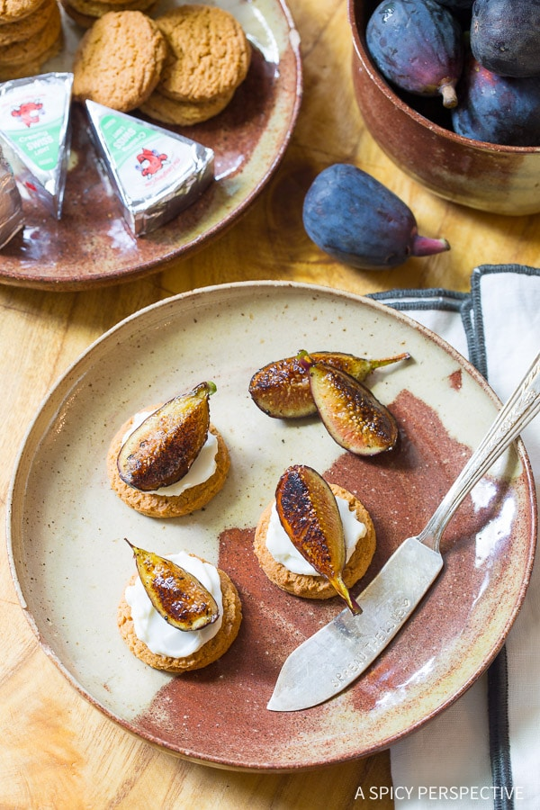Fun Fall Snacks - Caramelized Figs with Cheese and Gingersnaps on ASpicyPerspective.com