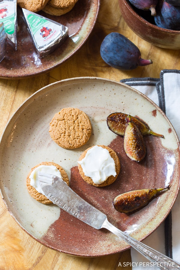 Snack-tastic Caramelized Figs with Cheese and Gingersnaps on ASpicyPerspective.com
