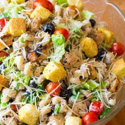 Best Chicken Caesar Pasta Salad with Homemade Caesar Dressing on ASpicyPerspective.com