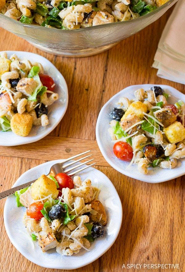 Make-Ahead Chicken Caesar Pasta Salad with Homemade Caesar Dressing on ASpicyPerspective.com