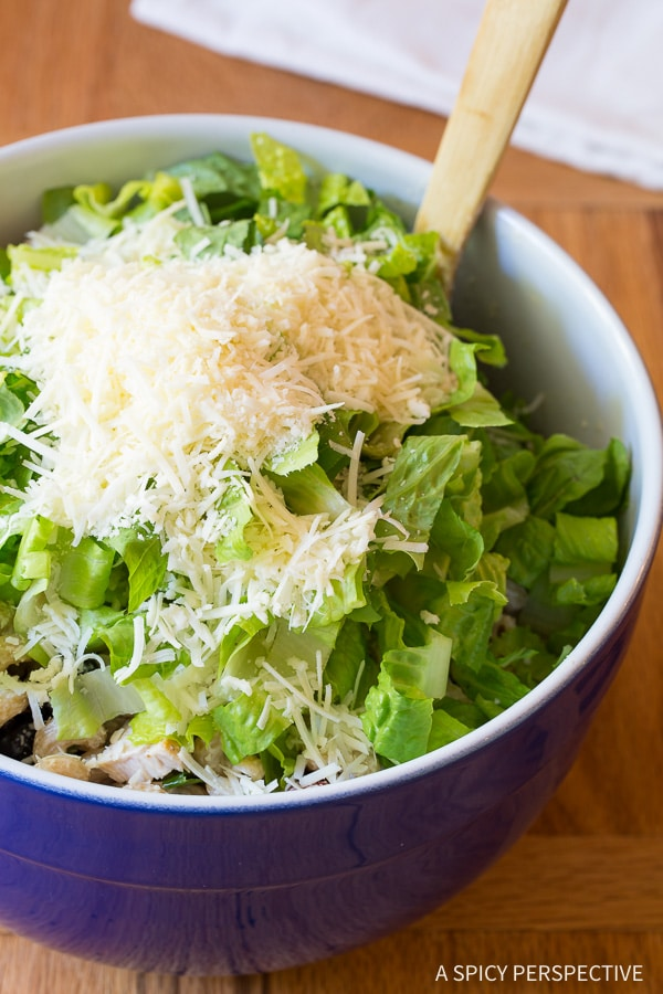 Crunchy Chicken Caesar Pasta Salad with Homemade Caesar Dressing on ASpicyPerspective.com