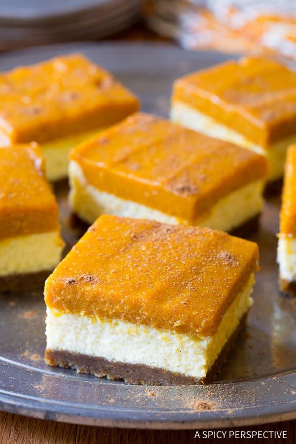 Easy to Make: Layered Pumpkin Cheesecake Bars on ASpicyPerspective.com