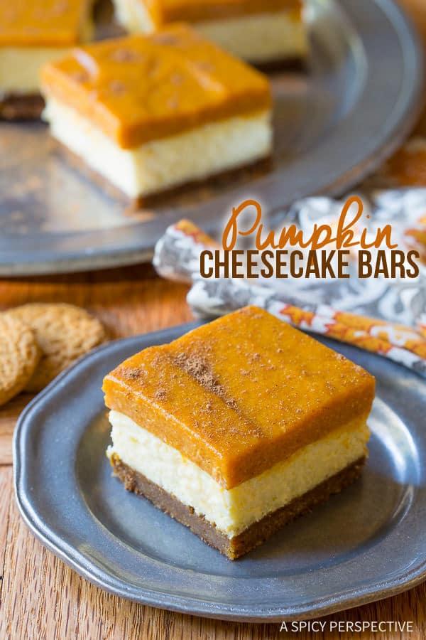 Thanksgiving Must Make: Layered Pumpkin Cheesecake Bars on ASpicyPerspective.com